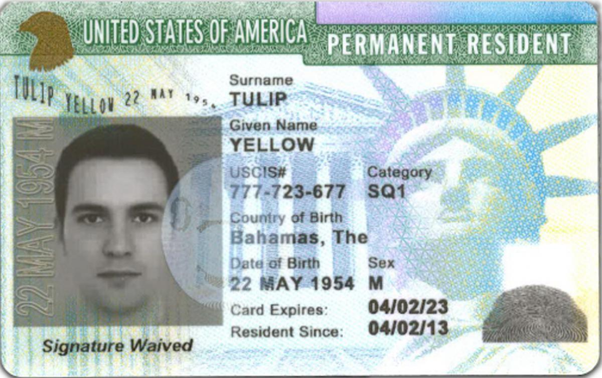 Permanent Resident Card with notation,