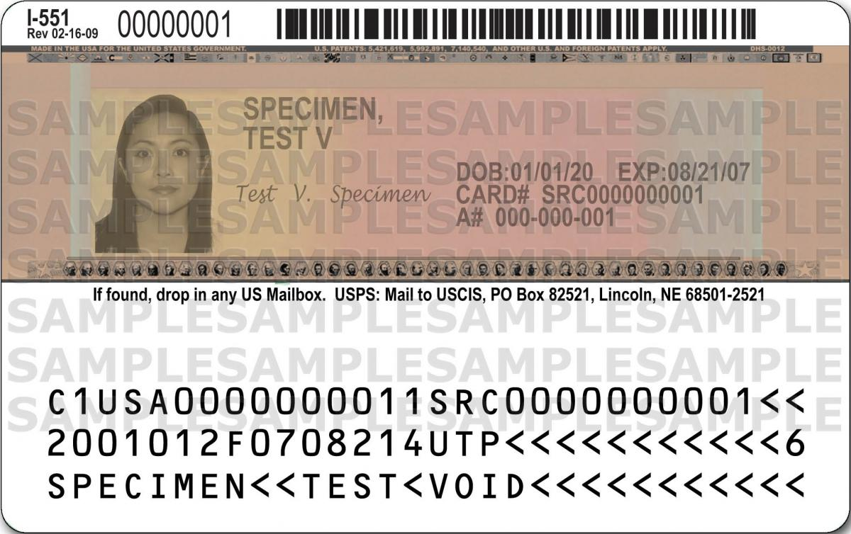 Permanent Resident Card with signature Back